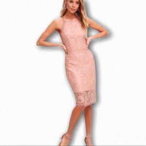 Lulu's Wishful Wanderings Blush Pink Lace Dress